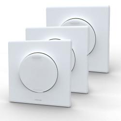 Lot de 3 Interrupteurs va et vient + plaques assemblées