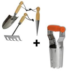 Set de 3 outils de jardinage + transplantoir