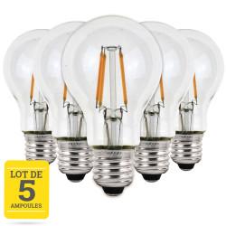 Lot de 5 ampoules LED à filaments E27 4W blanc chaud - Verre transparent - variable