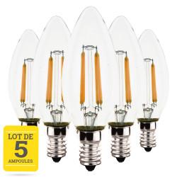 Lot de 5 ampoules LED flamme à filaments E14 4W blanc chaud - Verre transparent - variable