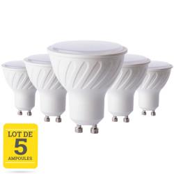 Lot de 5 ampoules LED GU10 7W blanc neutre - dimable