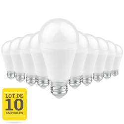Lot de 10 ampoules LED E27 7W blanc chaud