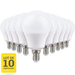 Lot de 10 ampoules LED E14 8W blanc chaud