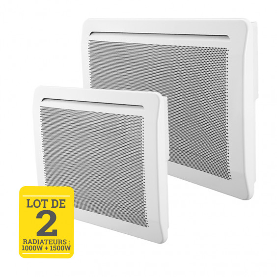 Lot de 2 panneaux rayonnants 1000W + 1500W Eco Design