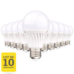 Lot de 10 ampoules LED E27 12W blanc chaud
