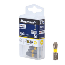 Jeu de 5 Embouts Cruciforme Impact Torsion PH3 25mm KORMAN TX
