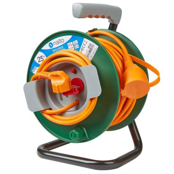 Enrouleur Jardin 25m Câble Orange 3G 1,5mm2 Avec Disjoncteur Thermique Avec Clapet Protection NALTO