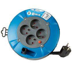 Enrouleur Électrique Ménager 5m 3G 1,5mm2 4 Prises Avec Disjoncteur Thermique NALTO