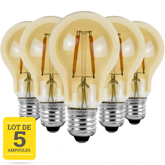 Lot de 5 ampoules LED à filaments E27 4W blanc neutre - Verre ambré - variable