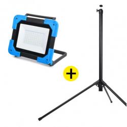 Lot Projecteur de Chantier LED Rechargeable 30W + Trepied NALTO